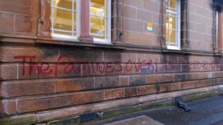 Graffiti outside St Aloysius' College