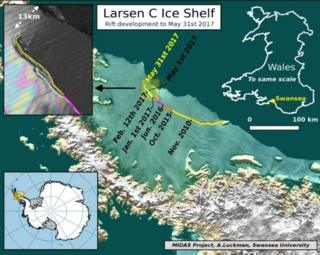 กราฟฟิกแสดงรอยแยกบนแผ่นน้ำแข็ง