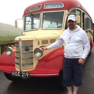 Nick Taylor with his Bedford OB coach in Shetland