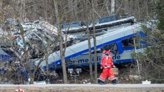 Red Cross workers at the site of a train crash in Germany