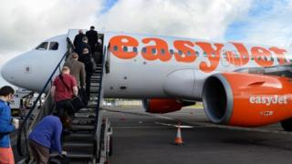People boarding an EasyJet flight