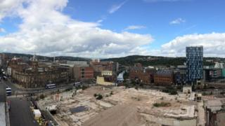 View of the Castle Market building site from Wilkinson