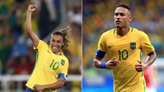//Neymar of Brazil in action during the match Brazil v Denmark on Day 5 of the Rio 2016 Olympic Games at Arena Fonte Nova on August 10, 2016 in Salvador,