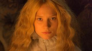"""Mia Wasikowska In this image released by Legendary Pictures and Universal Pictures, Mia Wasikowska, appears in a scene from the film, """"Crimson Peak."""""""