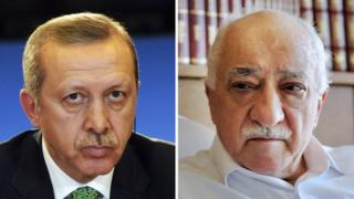 Recep Tayyip Erdogan (left) and Fethullah Gulen (right)