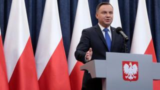 "Poland""s President Andrzej Duda speaks during his media announcement on 6 February"
