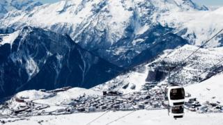 View down to Alpe d'Huez