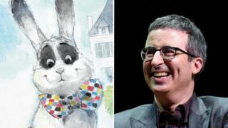 An image of Marlon Bundo (a white rabbit with a rainbow bow tie) and John Oliver (a white human with no bow tie)