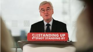 John McDonnell delivers his speech at the Royal Festival Hall