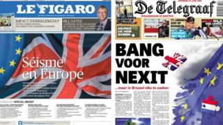Composite image of French and Dutch newspapers