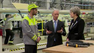 Mrs May visited the Bombardier aerospace plant in Belfast