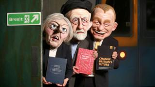 Actors depict three of the party leaders for an attraction at Thorpe Park