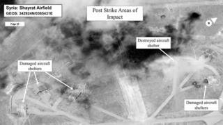 Photo released by the Pentagon showing damage at Shayrat air base
