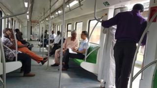 People inside a new train