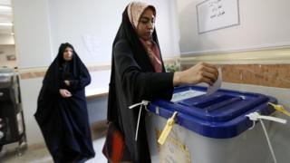 Iranian woman casts ballot in town of Robat Karim, south-west of capital Tehran. 29 April 2016