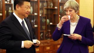 特里莎·梅首相與習近平主席一起茶敘。