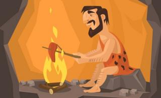 Cartoon of caveman cooking meat