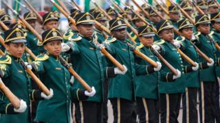 Members of South Africa's National Ceremonial Guard take part in the annual National Defense Force Parade in Durban, South Africa - Tuesday 21 February 2017