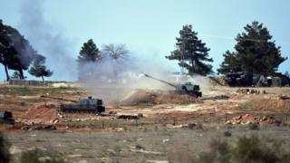 Turkish artillery fire towards Kurdish positions in northern Syria (16 February 2016)