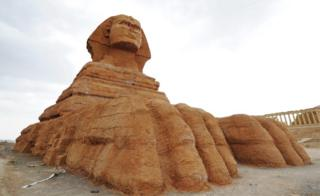 A replica of the Great Sphinx of Giza at the Lanzhou Silk Road Cultural Relics Park in Lanzhou city, 31 May 2016.