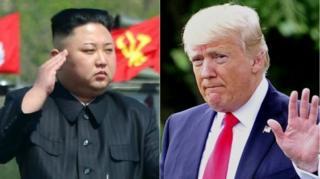 นายคิม จอง อึน ผู้นำสูงสุดของเกาหลีเหนือ และนายโดนัลด์ ทรัมป์ ประธานาธิบดีสหรัฐอเมริกา