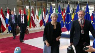 "Image caption Theresa May arriving at the Brussels summit Prime Minister Theresa May has said she will outline to her fellow EU leaders her plans for the issue of expats' rights after Brexit, later on Thursday.She also praised a ""constructive"" start to Brexit negotiations as she arrived at her first European Council summit since losing her Commons majority. Meanwhile EC president Donald Tusk used lyrics from John Lennon's Imagine to suggest the UK could stay in the EU.""You may say I'm a dreamer, but I'm not the only one,"" he said of the prospect.The summit comes the day after measures to enable Brexit dominated the Queen's Speech. Mrs May's Conservatives are still trying to secure the Commons support needed to pass their programme. Kuenssberg: The Brexit expats questions Brexit and security loom large at EU summit Bill-by-bill guide: Queen's SpeechBill-by-bill guide: Queen's Speech Corbyn attacks 'threadbare' programme Mrs May told.."