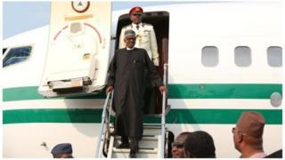 President Buhari has landed