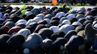 Muslims pray in Sydney during Eid Al Adha, on 12 September 2016
