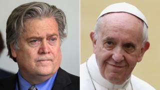Former White House chief strategist Steve Bannon (L) Cardinal Timothy Dolan of New York (R)