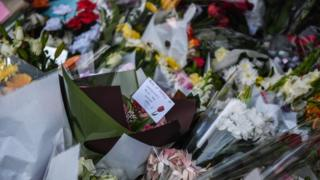 Flowers left outside the primary school in Sydney