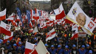Supporters of the Law and Justice party take part in a pro-government demonstration in Warsaw