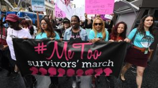 Women who are survivors of sexual harassment, sexual assault, sexual abuse and their supporters protest during a #MeToo march in Hollywood, California on November 12, 2017