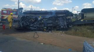 A picture of the burnt out minibus