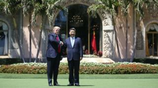 US President Donald Trump and Chinese President Xi Jinping at Mar-a-Lago resort. Photo: 7 April 2017