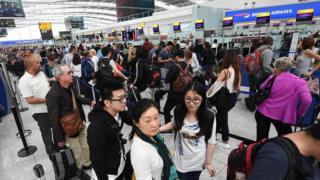 British Airways passengers queuing up
