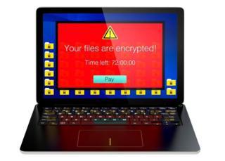 Una computadora tomada por ransomware