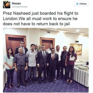"""Tweet by Hisaan Hussain saying: """"Prez Nasheed just boarded his flight to London. We all must work to ensure he does not have to return back to jail."""""""