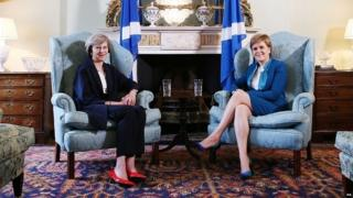 Theresa May and Nicola Sturgeon at their first official meeting in July 2016
