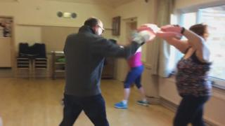 A boxing training class at Lydiard Millicent Village Hall