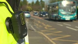 Body camera on crossing patrol outside school in Bangor, Gwynedd