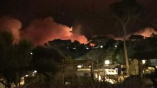 Wildfires burn in France