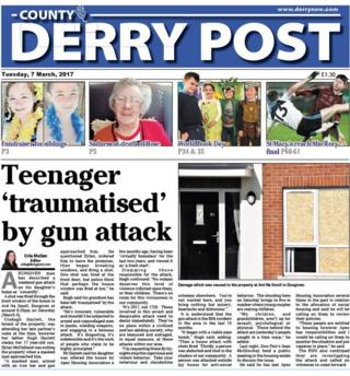 The front page of the County Derry Post
