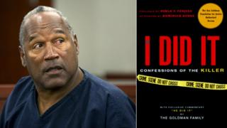 Collage photograph of Simpson during 2013 parole hearing and the cover of 2007 book If I Did It