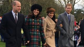 Duke and Duchess of Cambridge, Prince Harry and Meghan Markle on Christmas Day at Sandringham