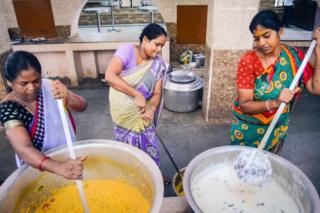 Cooking at the amma canteen