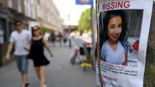 An image of missing persion Jessica Urbano, is pictured near to the Grenfell Tower fire