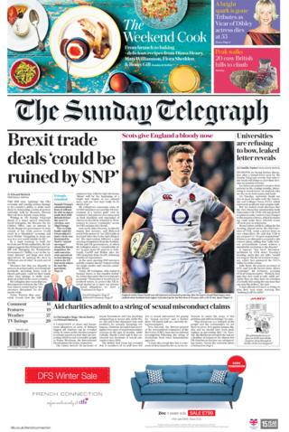 The Sunday Telegraph front page 25/02/2018