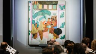 """The painting """"The Rivals"""" by artist Diego Rivera is displayed during the sales event of The Collection of Peggy and David Rockefeller at Christie""""s auction house in New York, New York, USA, 09 May 2018."""