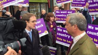 Chris Mason speaking to Nigel Farage