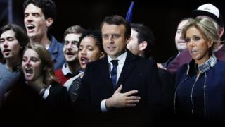 Emmanuel Macron celebrates with his wife Brigitte Trogneux on Sunday 7 May